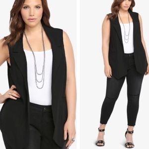 Torrid Black Open Front Cardigan Tuxedo Vest